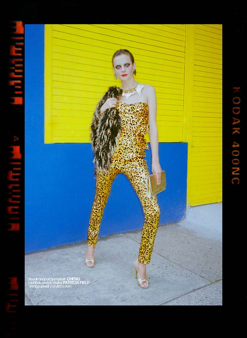 Allie Concannon photographed in a Cheng jumpsuit for Reserved magazine by Alexander Thompson.