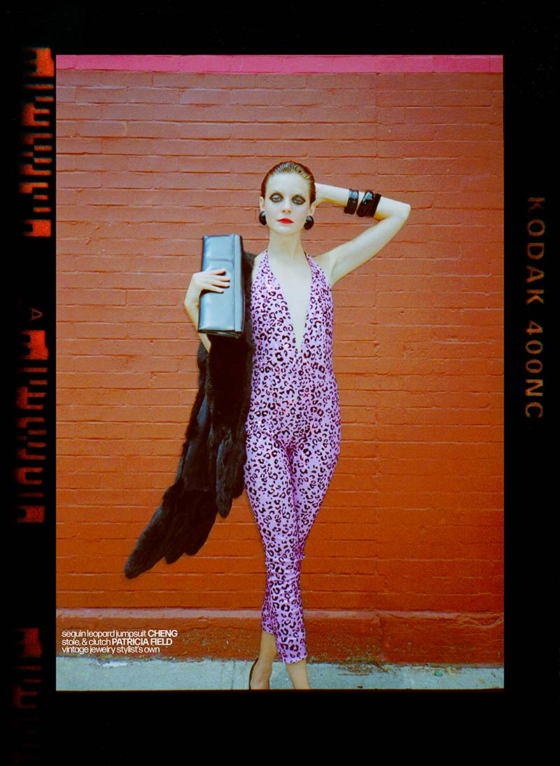 Allie Concannon photographed in a Cheng sequin jumpsuit for Reserved magazine by Alexander Thompson.