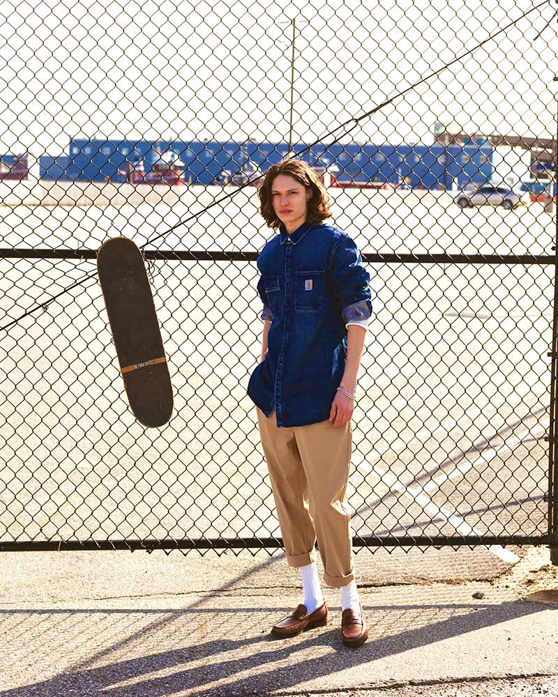 Skater menswear editorial by Kolby Knight, starring model Lucas Brenner. Image #3.
